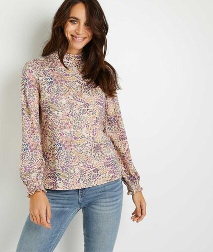 T-shirt smocké imprimé fleuri femme BEIGE