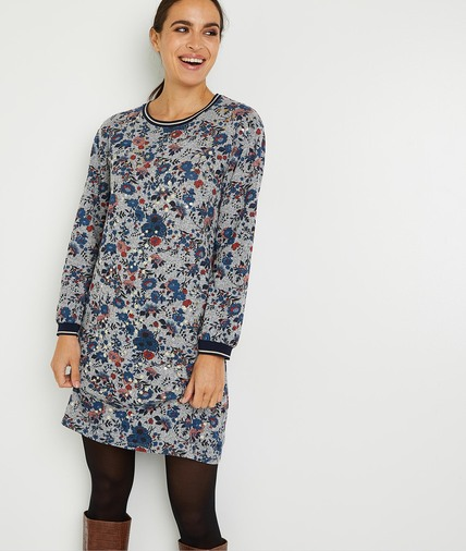 Robe en maille fleurie femme GRIS