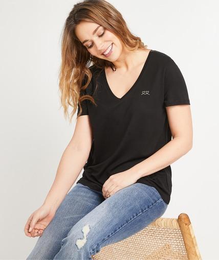T-shirt uni en lyocell femme NOIR