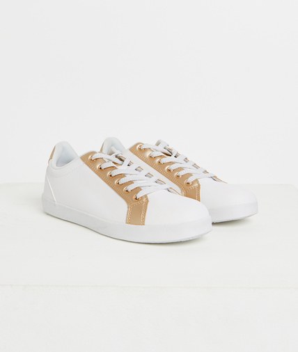 Baskets blanches et or femme BLANC