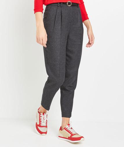 Pantalon carotte en lainage gris femme GRIS