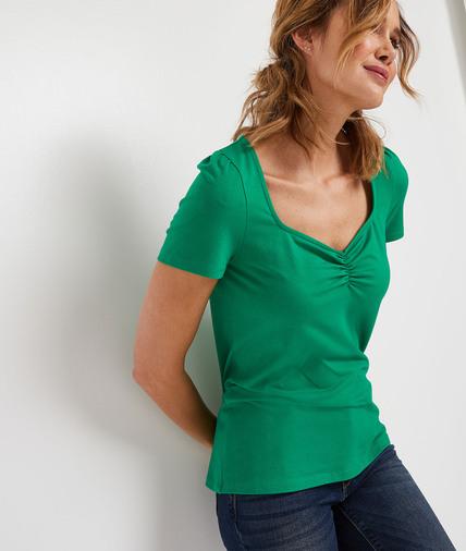 T-shirt uni manches courtes femme VERT