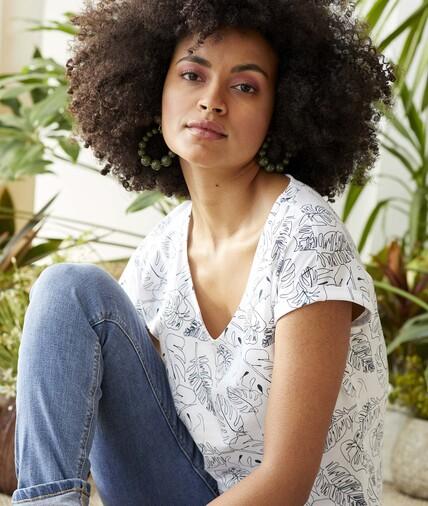 T-shirt en coton imprimé femme MARINE