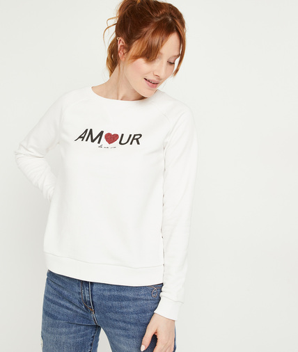 Sweat blanc à messaga amour femme BLANC