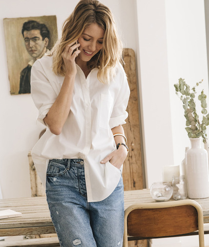 Chemise blanche oversize femme ECRU