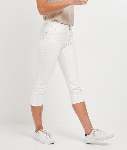 Corsaire en jean de couleur femme BLANC
