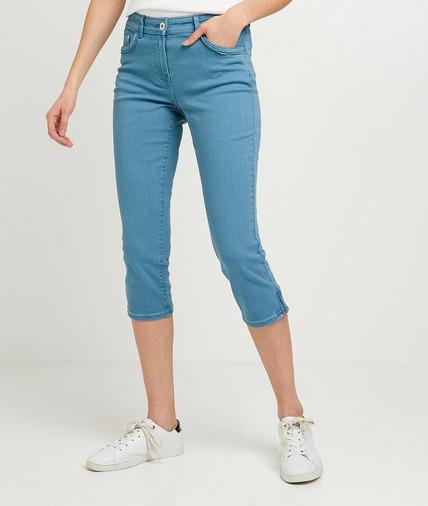 Corsaire en jean de couleur femme BLEU