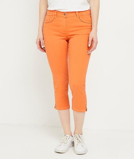 Corsaire en jean de couleur femme ORANGE