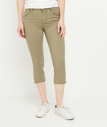 Corsaire en jean de couleur femme KAKI