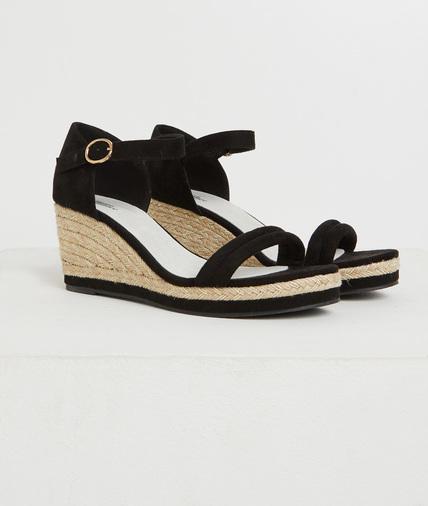 Sandales noires compensées femme NOIR