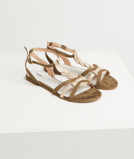 Sandales plates kaki femme KAKI
