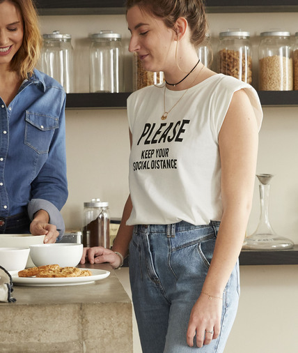T-shirt à message et épaulettes femme BLANC