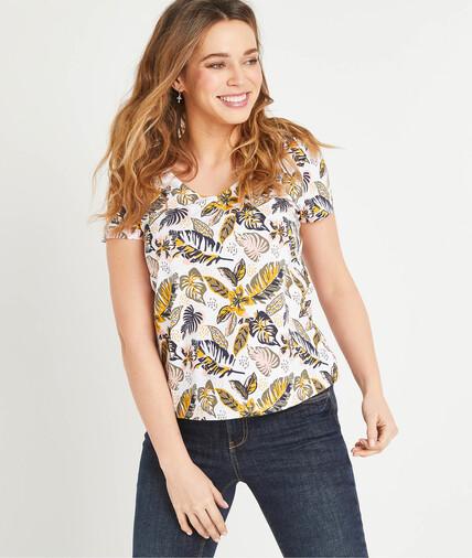 T-shirt imprimé en coton femme BLANC