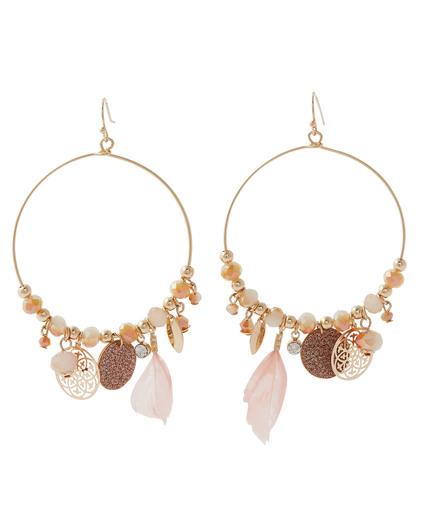 Boucles d'oreilles pendantes pampilles ROSE