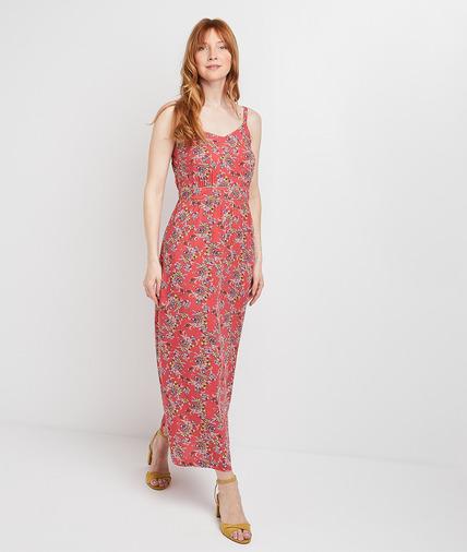 Robe longue rose imprimée femme ROSE