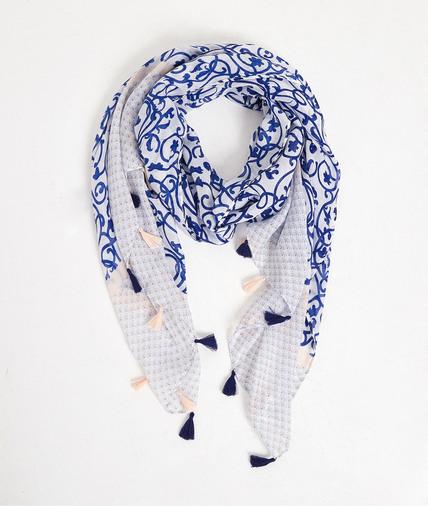 Foulard bleu et blanc femme BLEU