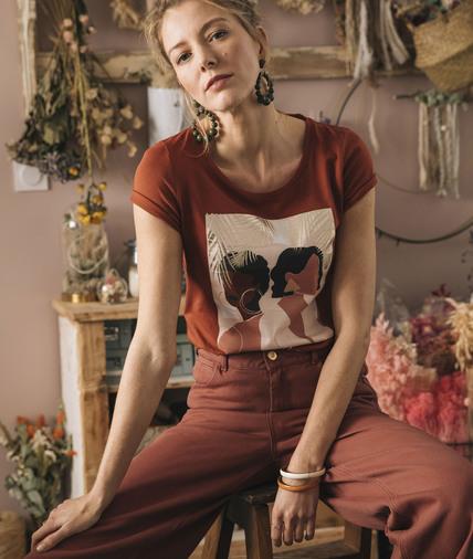 T-shirt en coton imprimé femme TERRACOTTA