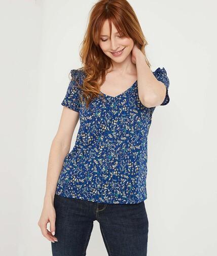 T-shirt bleu fleuri à volants femme BLEU