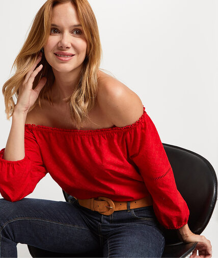 Blouse rouge en broderie anglaise femme ROUGE