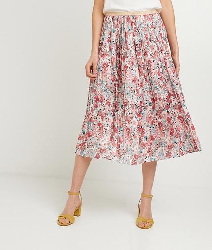 Jupe plissée fleurie femme ROSE