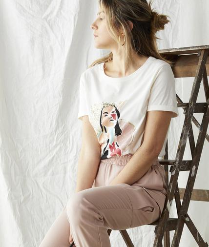 T-shirt en coton print visage femme ECRU