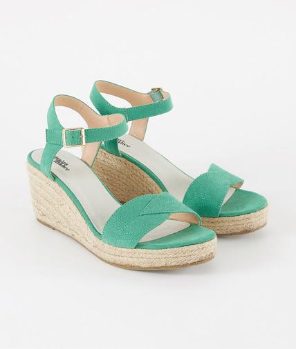 Sandales à talon compensé vertes femme VERT