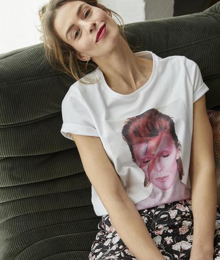 T-shirt David Bowie femme ECRU