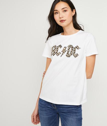 T-shirt en coton ACDC femme ECRU