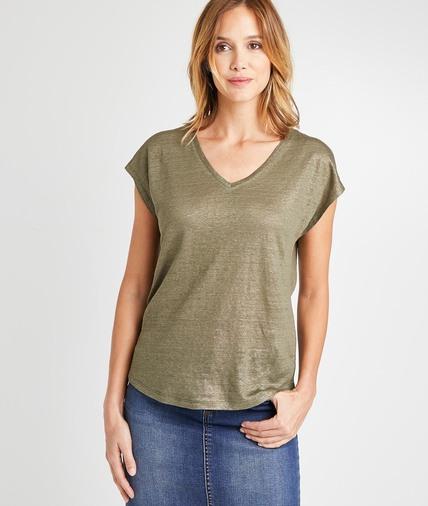T-shirt en lin kaki uni femme KAKI
