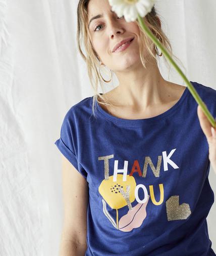 T-shirt à message bleu femme MARINE