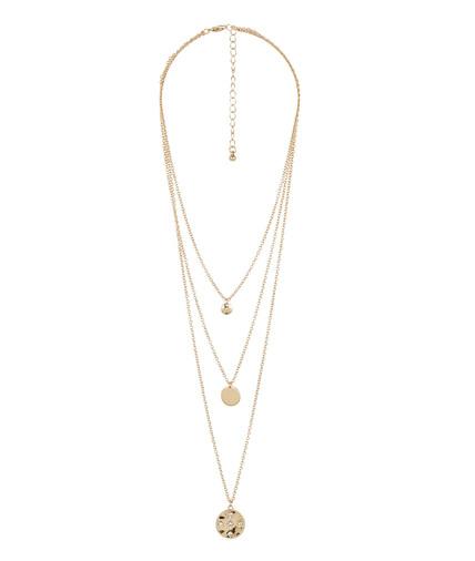 Collier 3 rangs pendentifs doré CRISTAL
