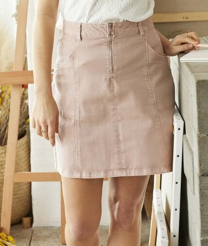 Jupe en jean rose zippée femme ROSE