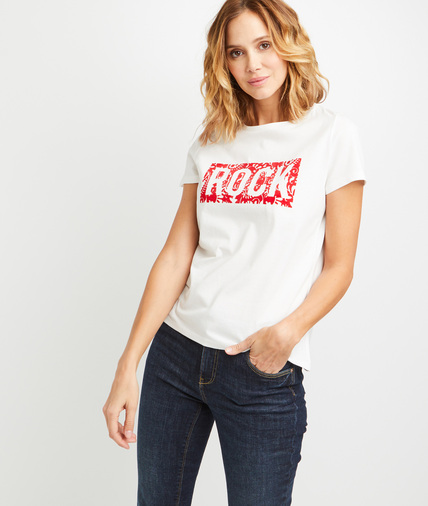 T-shirt en coton à message rock femme ECRU