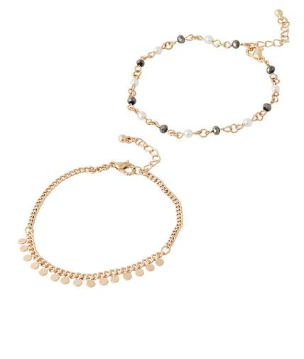 Set de 2 bracelets dorés PERLE