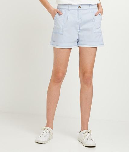 Short en coton femme BLEU