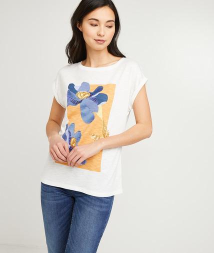 T-shirt écru imprimé fleurs femme ECRU