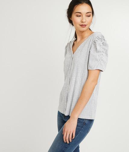T-shirt rayé manches froncées femme BLEU