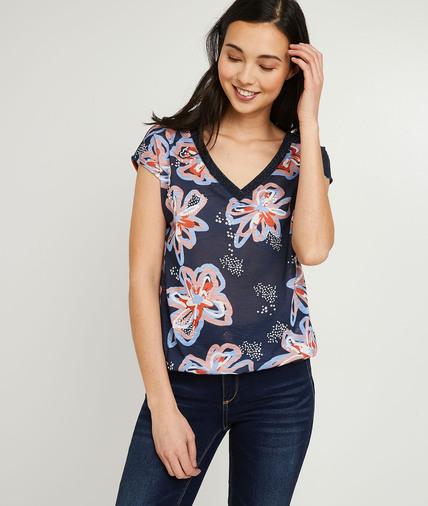 T-shirt marine à fleurs femme MARINE