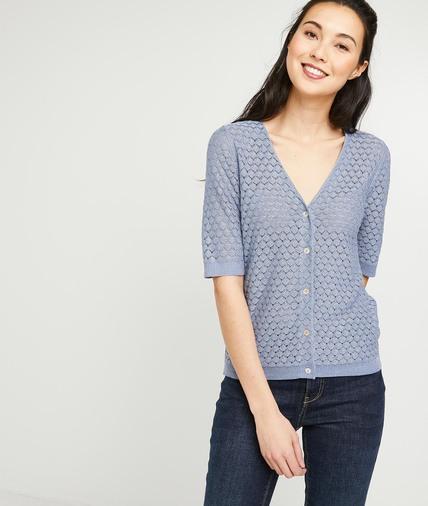 Gilet en tricot fantaisie bleu femme BLEU