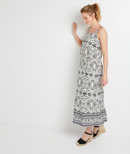 Robe longue imprimée à étages femme ECRU