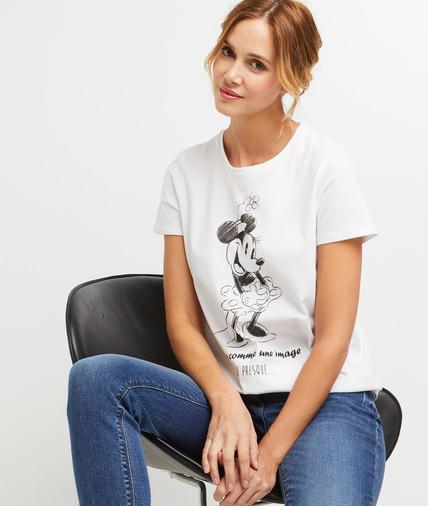 T-shirt Minnie en coton femme ECRU