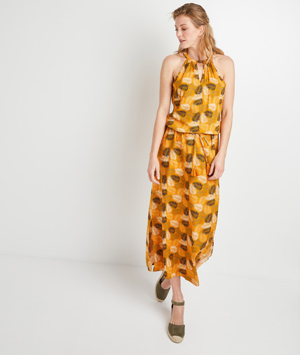 Robe longue jaune à motifs femme JAUNE