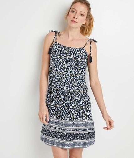 Robe bleue imprimée à bretelles femme BLEU