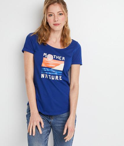 T-shirt bleu à motif femme BLEU