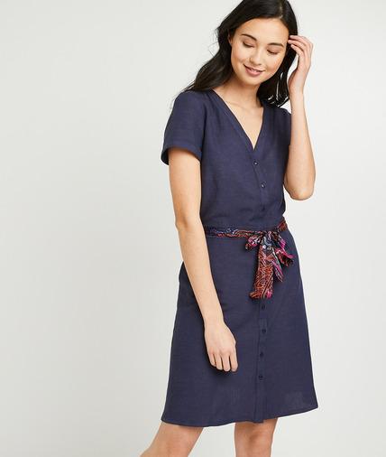 Robe ceinture fleurie femme MARINE