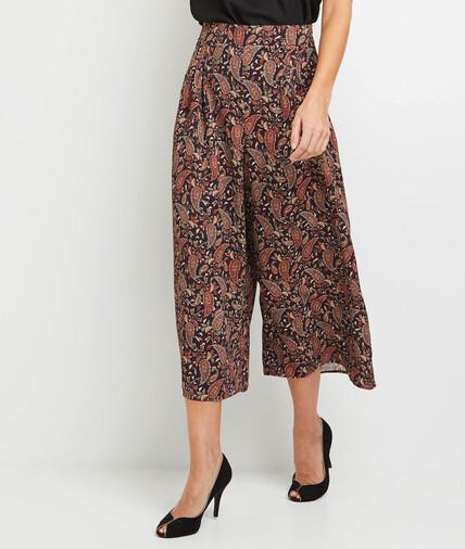 Pantalon large raccourci imprimé femme NOIR