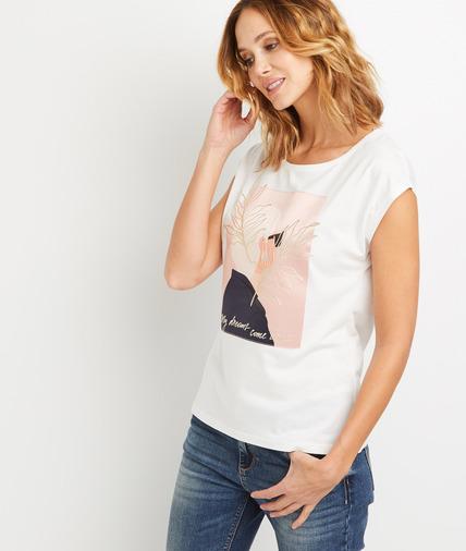 T-shirt imprimé visage femme ECRU