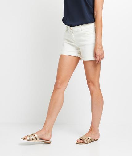 Short en jean blanc femme BLANC