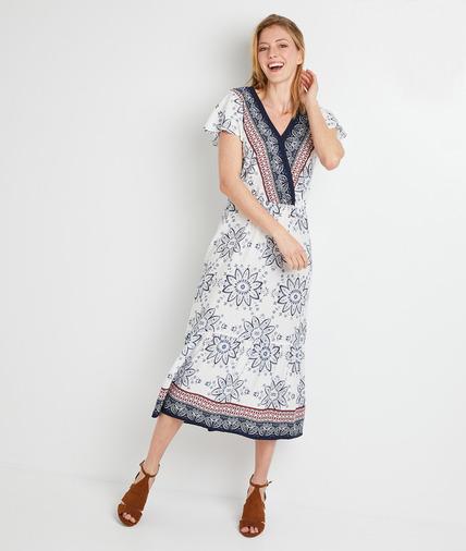 Robe longue imprimée femme ECRU