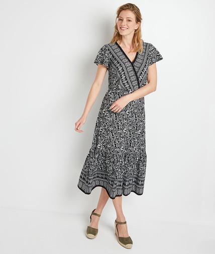 Robe longue imprimée femme NOIR